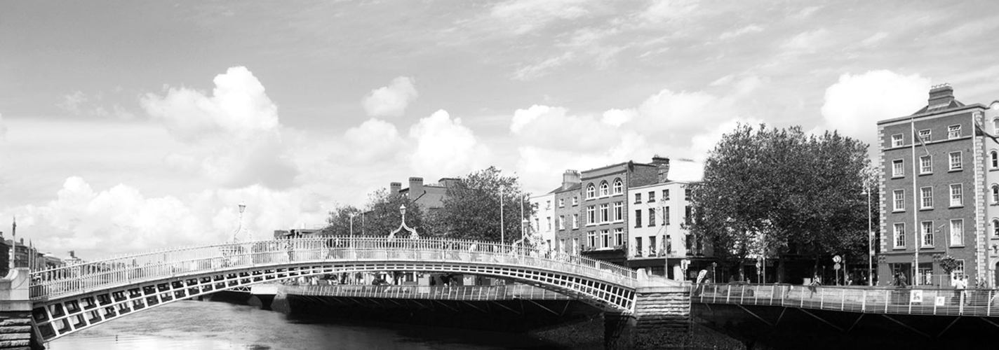The photo shows the famous Halfpenny Bridge in Dublin, Ireland